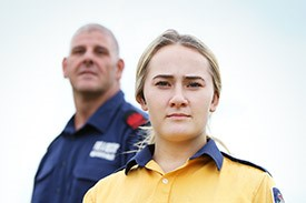 Male and female emergency service workers