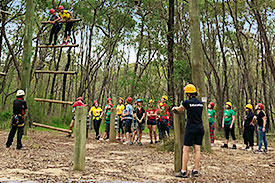 Girls in bush wearing harnesses and helmets taking turns to climb log ladder at Yarramundi NSW