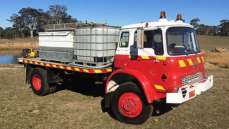 Firefighters Mutual Bank member, Geoff Hooler's Bedfors water tanker