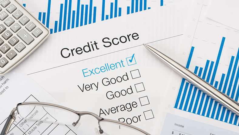 Credit report document with excellent credit score rating